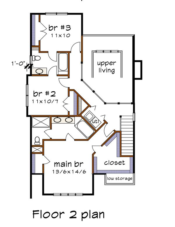 Bungalow Floor Plan - Upper Floor Plan #79-275