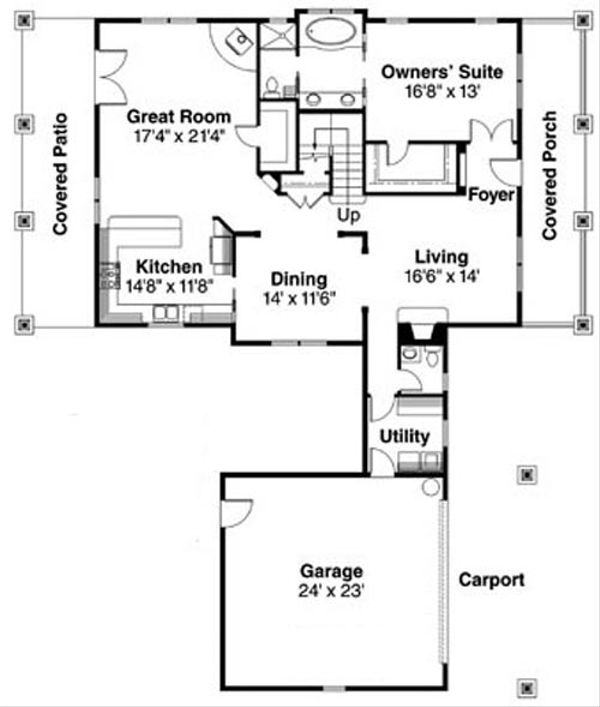 Bungalow Floor Plan - Main Floor Plan Plan #124-736