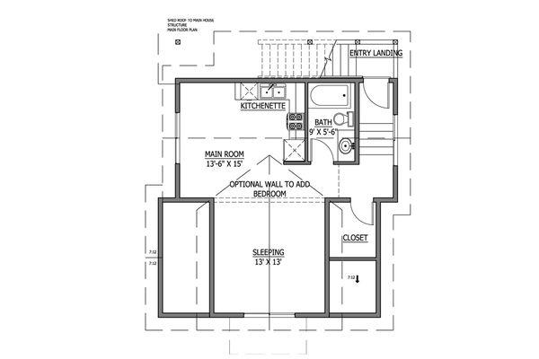 Craftsman Style House Plan - 1 Beds 1 Baths 605 Sq/Ft Plan #899-4 Floor Plan - Upper Floor Plan