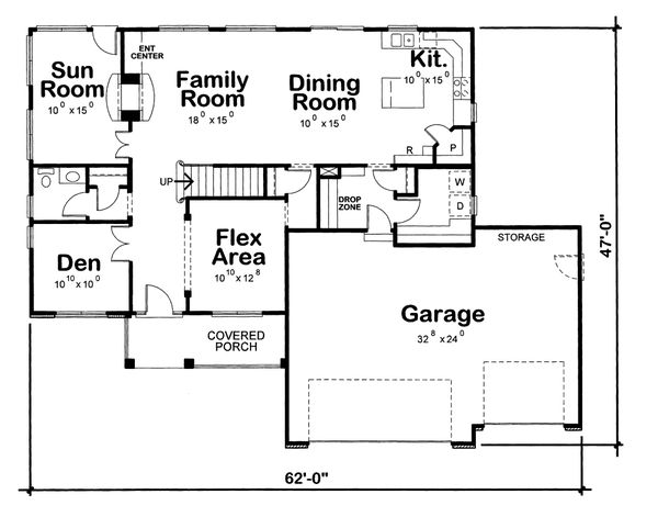 Dream House Plan - Traditional Floor Plan - Main Floor Plan #20-1762
