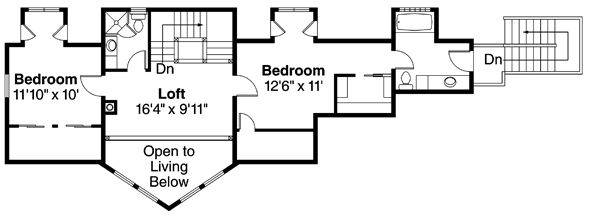 Contemporary Floor Plan - Upper Floor Plan Plan #124-874