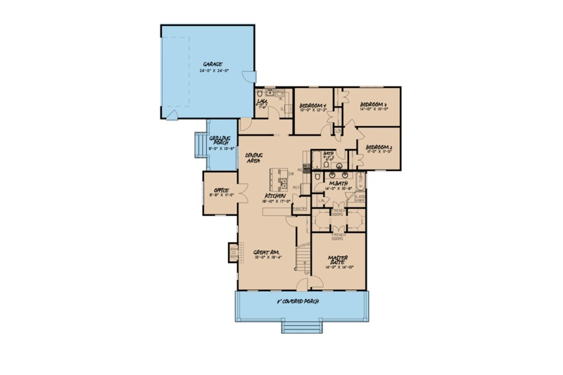 Farmhouse Floor Plan - Main Floor Plan Plan #923-100