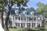 Colonial Style House Plan - 4 Beds 4.5 Baths 4298 Sq/Ft Plan #137-101 Exterior - Front Elevation