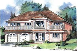 European Exterior - Front Elevation Plan #18-9027