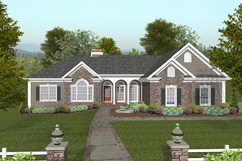 Traditional Style House Plan - 4 Beds 3.5 Baths 2000 Sq/Ft Plan #56-573 Exterior - Front Elevation