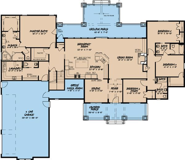 Craftsman Floor Plan - Main Floor Plan Plan #923-15
