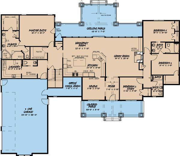 House Plan Design - Craftsman Floor Plan - Main Floor Plan #923-15