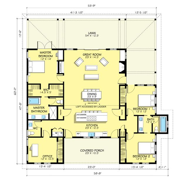 Modern Farmhouse style plan, main level floor plan
