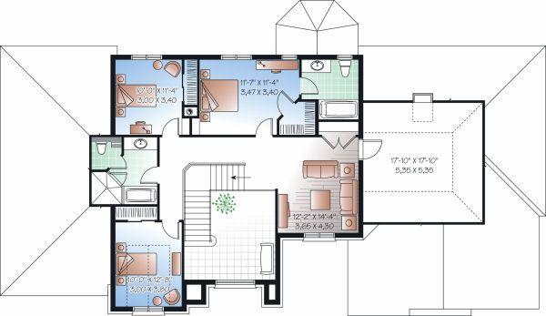 European Floor Plan - Upper Floor Plan Plan #23-828