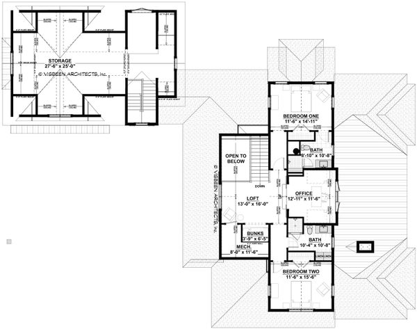 Southern Floor Plan - Upper Floor Plan #928-316