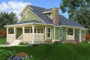 Craftsman Style House Plan - 2 Beds 3 Baths 1062 Sq/Ft Plan #45-592 Exterior - Rear Elevation