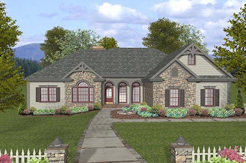Craftsman Style House Plan - 4 Beds 3.5 Baths 2000 Sq/Ft Plan #56-572 Exterior - Front Elevation