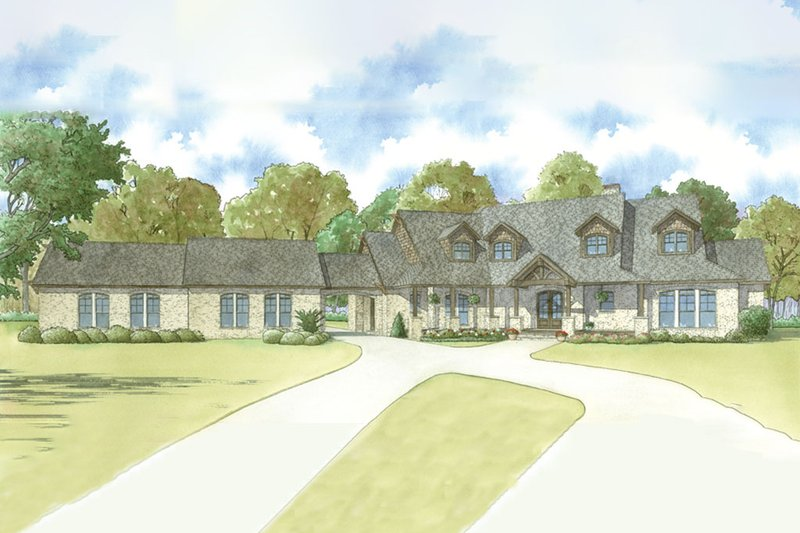 Country Style House Plan - 5 Beds 5.5 Baths 4595 Sq/Ft Plan #923-39 Exterior - Front Elevation