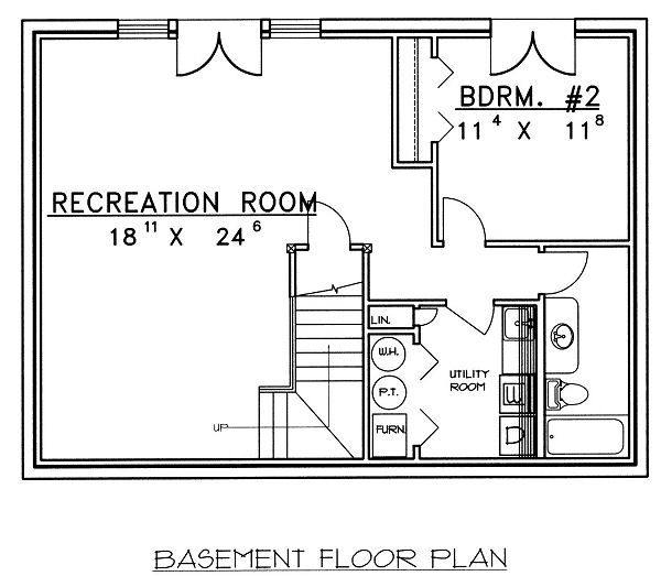 Traditional Floor Plan - Lower Floor Plan Plan #117-544