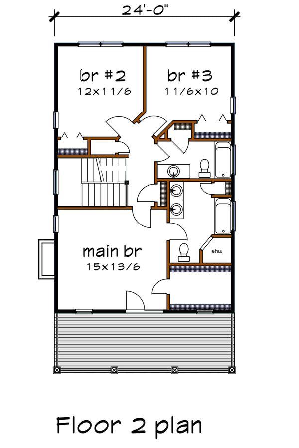 Southern Floor Plan - Upper Floor Plan Plan #79-229