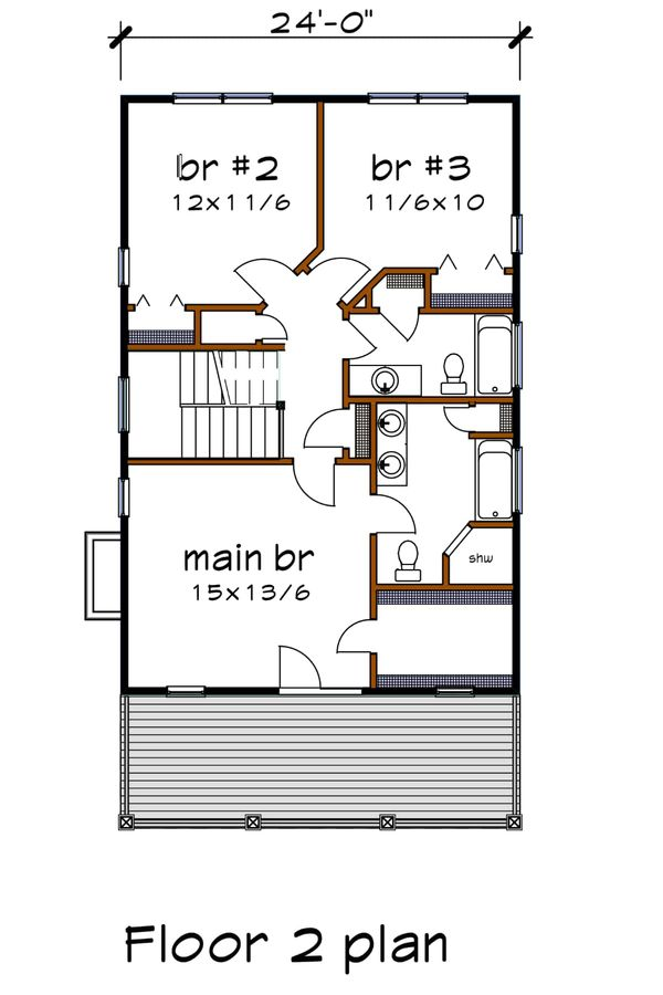 Home Plan - Southern Floor Plan - Upper Floor Plan #79-229