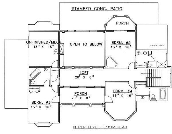 European Floor Plan - Upper Floor Plan #117-537