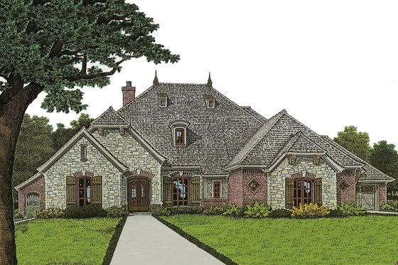European Exterior - Front Elevation Plan #310-973