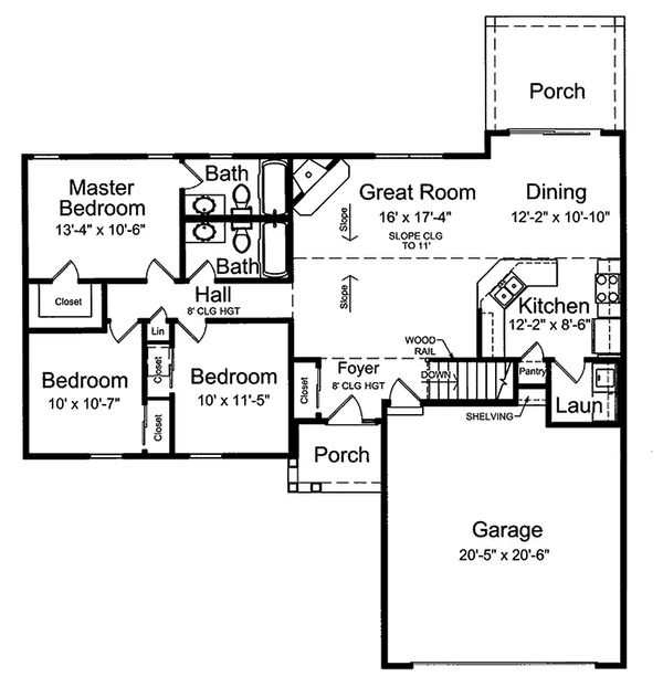 Dream House Plan - Ranch style country house plan, main level floor plan