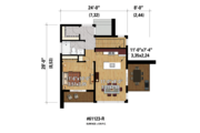 Contemporary Style House Plan - 2 Beds 1 Baths 1156 Sq/Ft Plan #25-4585 Floor Plan - Main Floor Plan