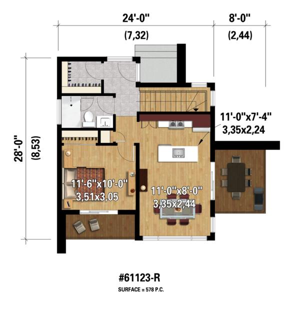 Contemporary Floor Plan - Main Floor Plan Plan #25-4585