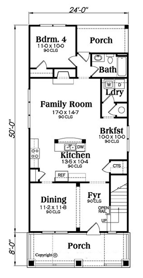 Bungalow Floor Plan - Main Floor Plan Plan #419-297