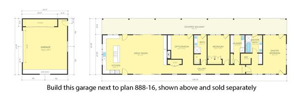 Ranch Floor Plan - Other Floor Plan Plan #888-14