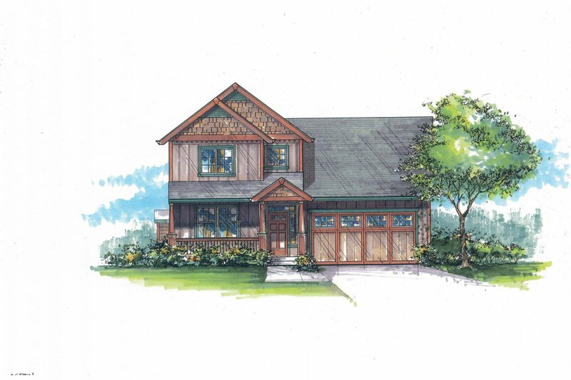 Craftsman Exterior - Front Elevation Plan #53-472