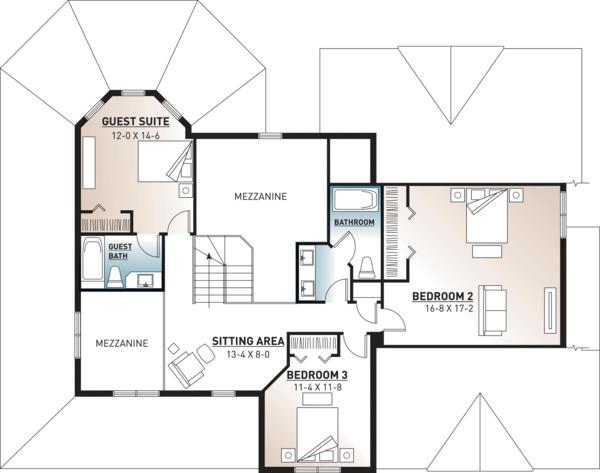 Country Floor Plan - Upper Floor Plan Plan #23-2131