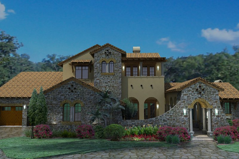 Mediterranean Style House Plan - 4 Beds 3.5 Baths 3691 Sq/Ft Plan #120-163 Exterior - Front Elevation