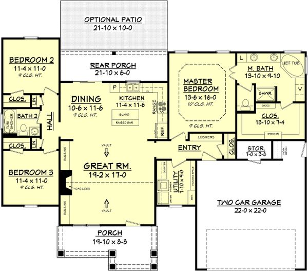 Craftsman Floor Plan - Main Floor Plan Plan #430-78