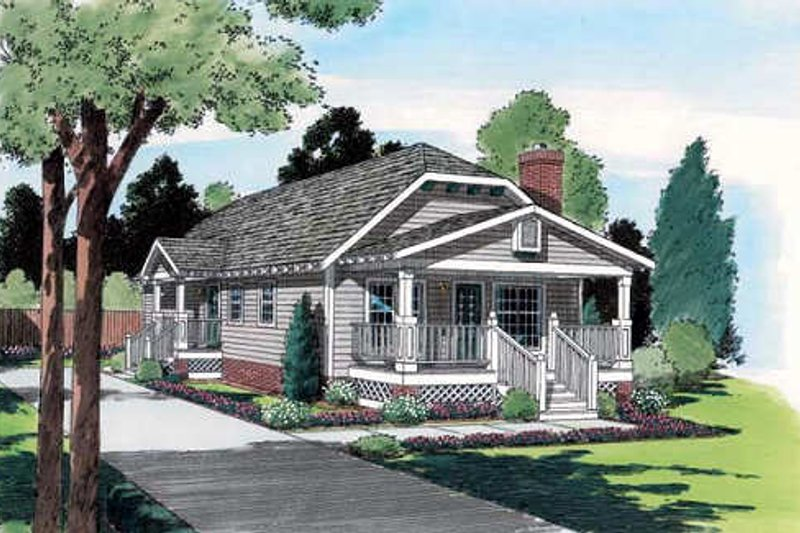Cottage Style House Plan - 3 Beds 2 Baths 1174 Sq/Ft Plan #312-338 Exterior - Front Elevation