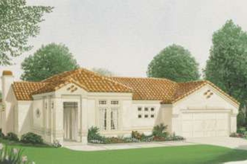 Mediterranean Exterior - Front Elevation Plan #410-209