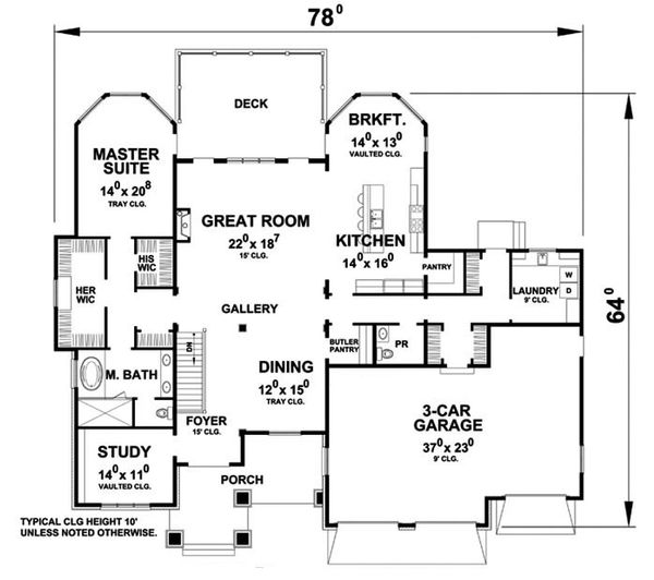 Ranch Style House Plan - 3 Beds 3.5 Baths 4683 Sq/Ft Plan #20-2284 Floor Plan - Main Floor Plan