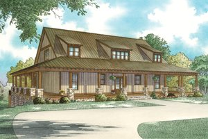Country Exterior - Front Elevation Plan #17-3428