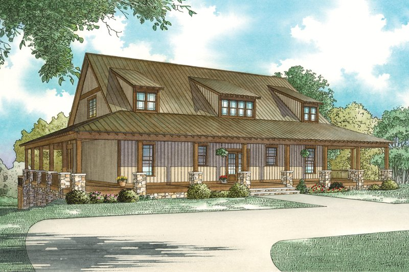 Architectural House Design - Country Exterior - Front Elevation Plan #17-3428