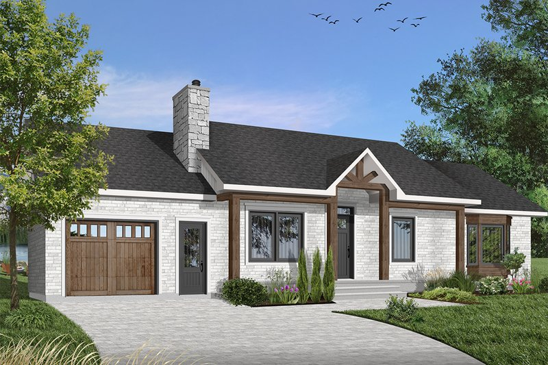 Ranch Style House Plan - 3 Beds 1 Baths 1184 Sq/Ft Plan #23-1001 Exterior - Front Elevation
