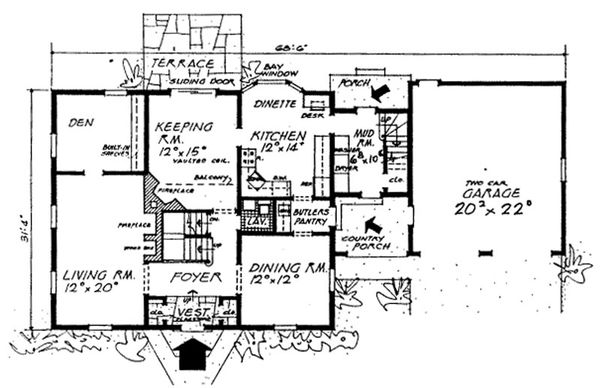 Colonial Floor Plan - Main Floor Plan Plan #315-108