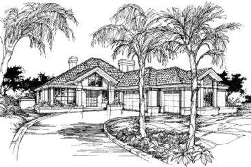 Mediterranean Exterior - Front Elevation Plan #320-107