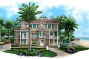 Mediterranean Style House Plan - 2 Beds 2.5 Baths 3996 Sq/Ft Plan #27-450 Exterior - Front Elevation