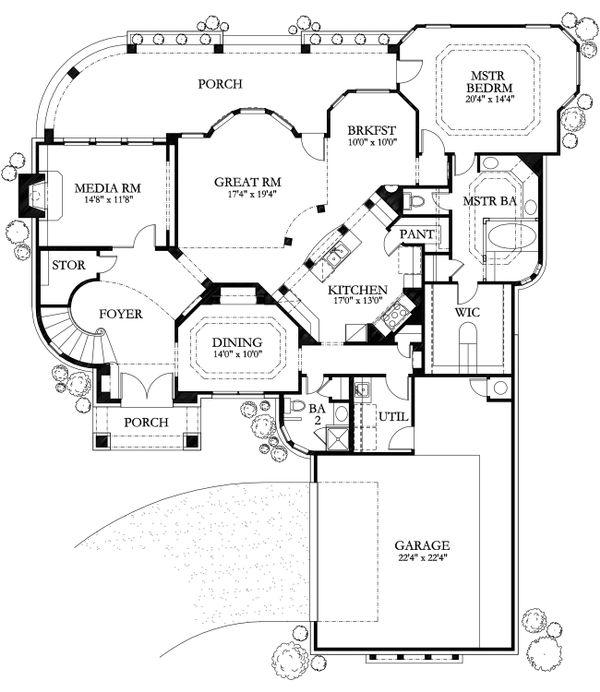 Mediterranean Floor Plan - Main Floor Plan Plan #80-184