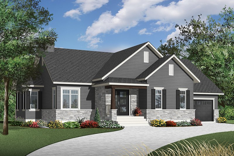 Country Exterior - Front Elevation Plan #23-2570
