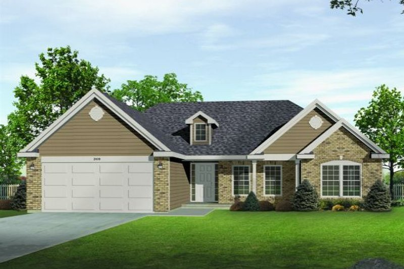 European Style House Plan - 3 Beds 2.5 Baths 1635 Sq/Ft Plan #22-524 Exterior - Front Elevation