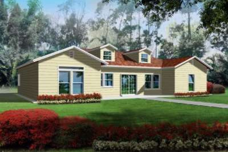 Country Style House Plan - 2 Beds 2.5 Baths 1860 Sq/Ft Plan #1-389 Exterior - Front Elevation