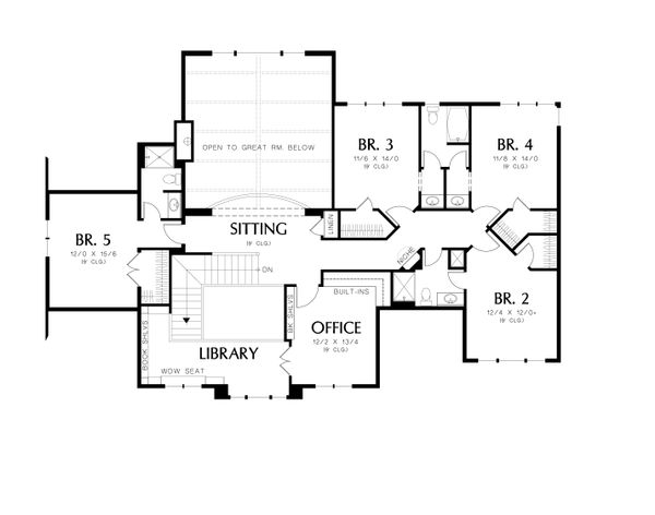 Country Floor Plan - Upper Floor Plan Plan #48-619