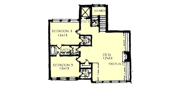 Craftsman Floor Plan - Upper Floor Plan Plan #921-1
