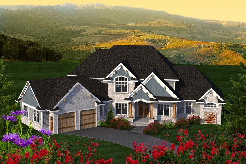 Dream House Plan - Craftsman Exterior - Front Elevation Plan #70-1233