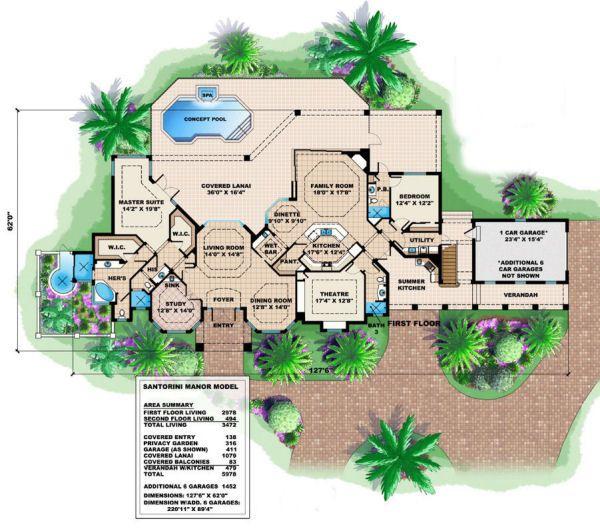 Mediterranean Floor Plan - Main Floor Plan Plan #27-377