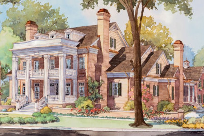 Classical Style House Plan - 5 Beds 5 Baths 6570 Sq/Ft Plan #429-47 Exterior - Front Elevation