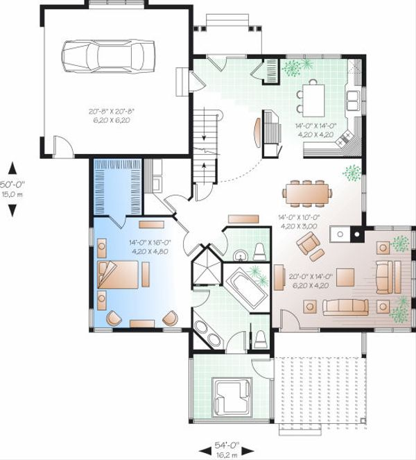 Traditional Floor Plan - Main Floor Plan Plan #23-716